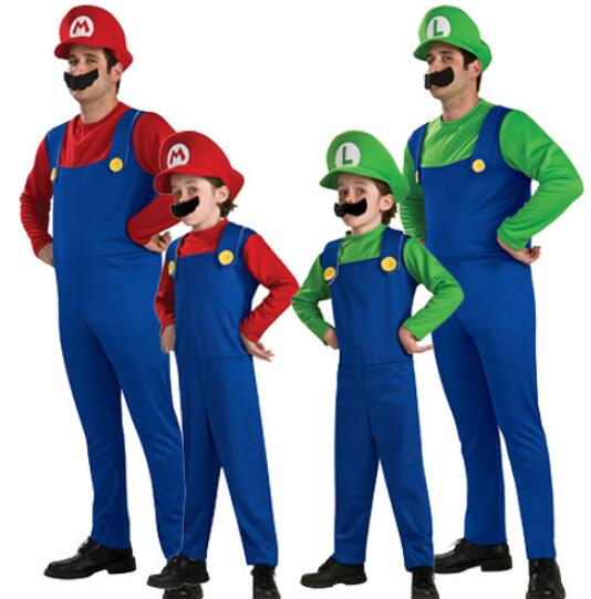 Children Funy Cosplay Costume Super Mario Luigi Brothers Plumber Fancy Dress Up Party Costume Cute Kids Costume N8801