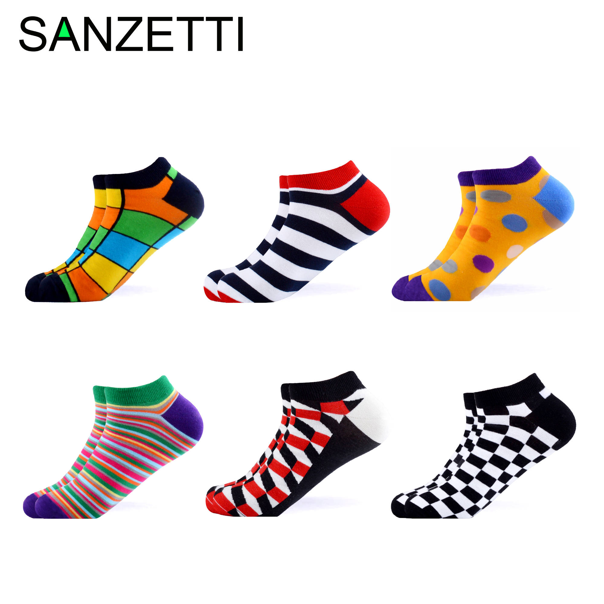 SANZETTI 6 Pairs/Lot Men Summer Novelty Ankle   Socks   Casual Combed Cotton   Socks   Colorful Plaid Animal Pattern Happy Boat   Socks