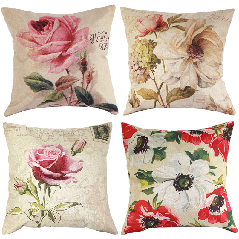 Vintage Flower Pillow Case Cotton Linen Pillow Cover Bed Car Waist Throw Cushion Cover Flowers Pillowcase for Home Decoration