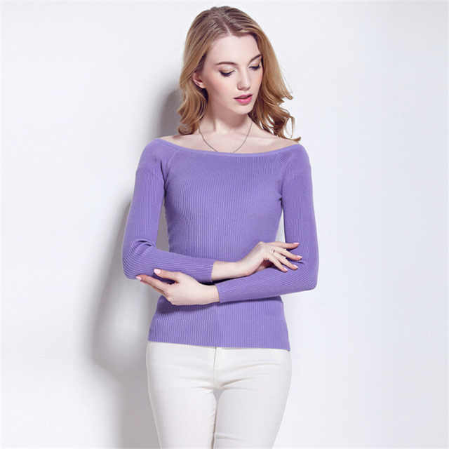 Fashion Autumn Winter basic Women Slim Sweater Sexy off shoulder split knitted sweaters jumper pull femme Long sleeves pullover