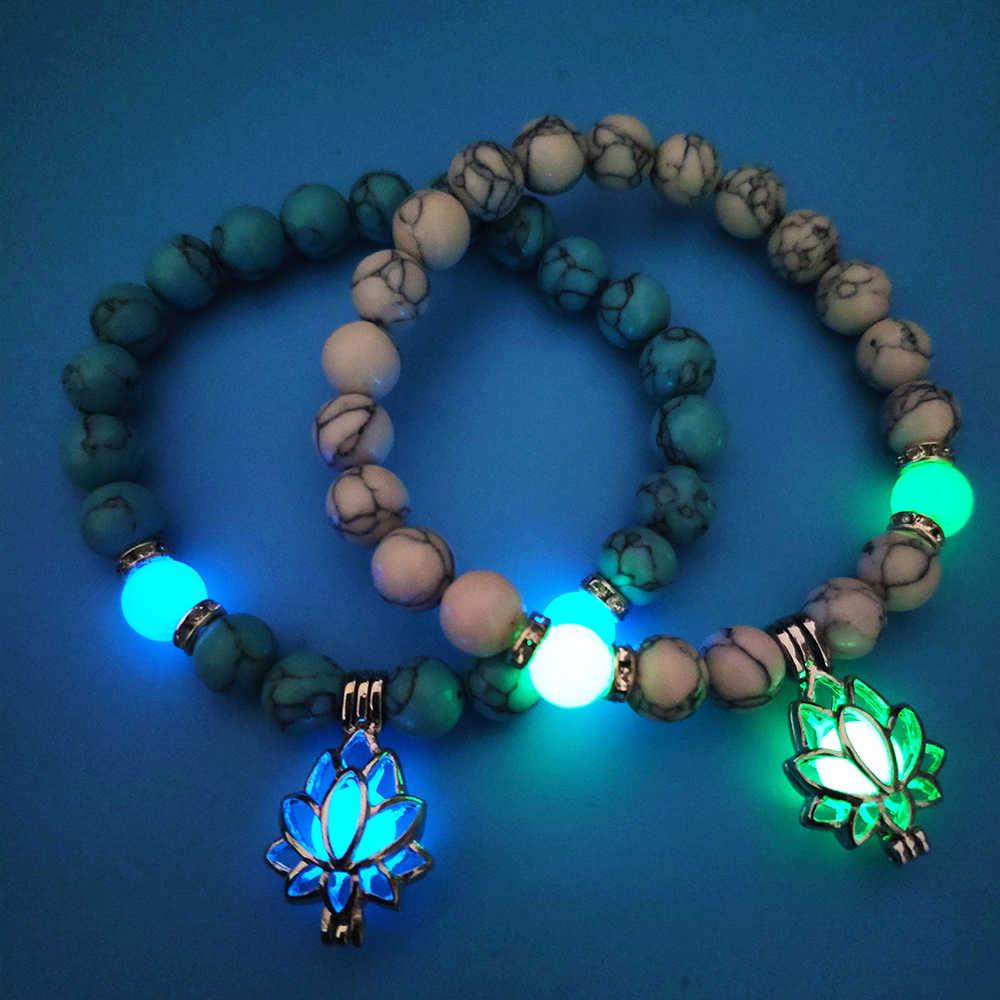 זוהר זוהר בחושך ירח לוטוס פרח בצורת קסם צמיד לנשים יוגה תפילת בודהיזם תכשיטי עם אבנים טבעיות