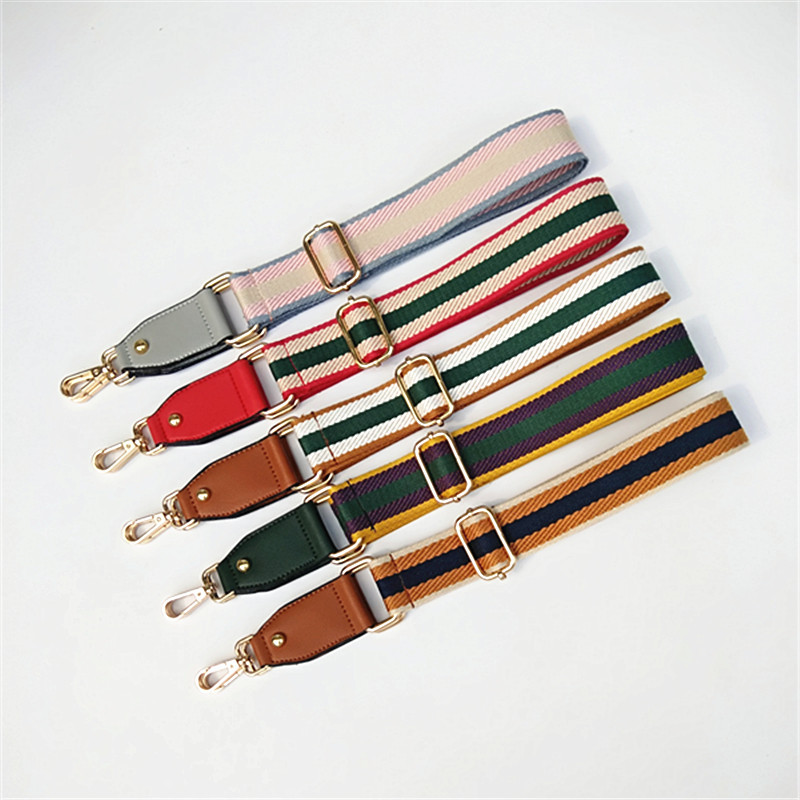 New Shoulder Bag Strap For Crossbody Women Bag Accessories Handle Adjustable Striped Purse Nylon Strap Bag Belt Bandolera W245