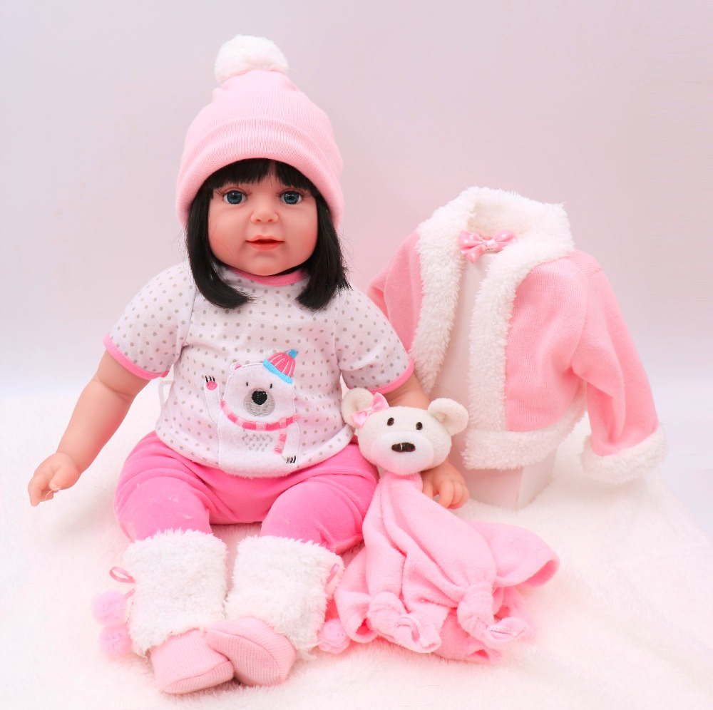 55cm Round face princess doll big eyes all Silicone Lifelike toddler Baby Bonecas girl kid doll bebe reborn kit de silicone toys55cm Round face princess doll big eyes all Silicone Lifelike toddler Baby Bonecas girl kid doll bebe reborn kit de silicone toys