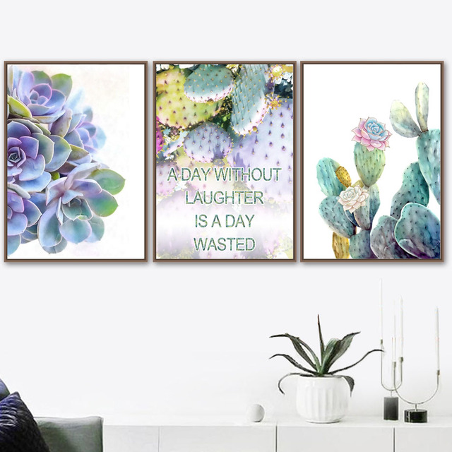 Watercolor Colorful Cactus Plant Nordic Posters