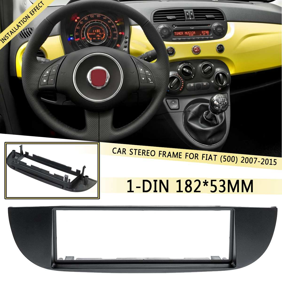 1 DIN Car DVD/CD Radio Stereo Frame Facia Panel Trim Adapter Dash kit For Fiat (500) 2007 2008 2009 2010 2011 2012-2015 182x53mm image