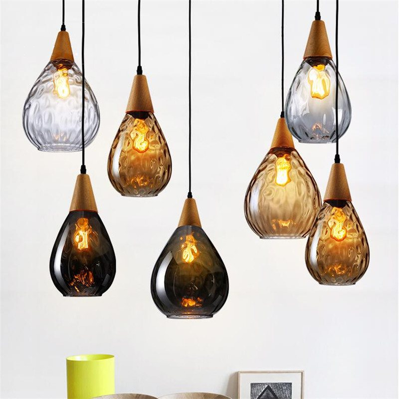 Wood Pendant Light Glass Lamp Hanging Products Wooden Lights Vintage Clear/Amber/Gray Crystal Glass Led E27 Dining Room edison inustrial loft vintage amber glass basin pendant lights lamp for cafe bar hall bedroom club dining room droplight decor