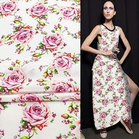 Pink rose design silk Crepe DE chine fabric 137cm width 16momme thick,SCDC711