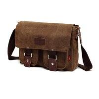 Wholesale10pcs*Vintage Canvas Leather Schoolbag Military Shoulder Crossbody