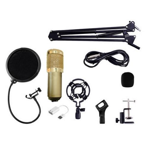 Top Deals BM800 Condenser Microphone Kit Studio Suspension Boom Scissor Arm Sound Card Gold/Pink/White/Blue/Black neewer nw 700 condenser microphone kit