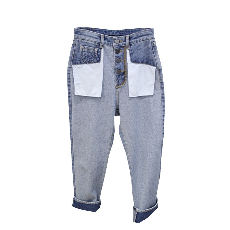 Casual Pantalones Estilo Denim Coreano De Alta Recto Pierna Moda Señoras Vaqueros Suelto Otoño Azul Mujeres Las Cintura 2018 qHq7FY1