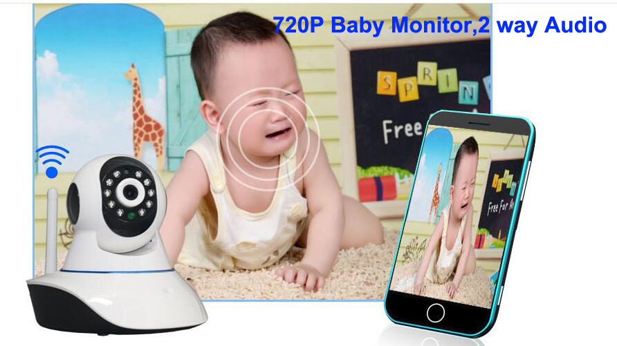 1.0MP Wireless Baby Monitor Ip Camera Wifi P2P IPC camera with Motion Detection Intercom HD 720p Live Baby Electronic Monitor