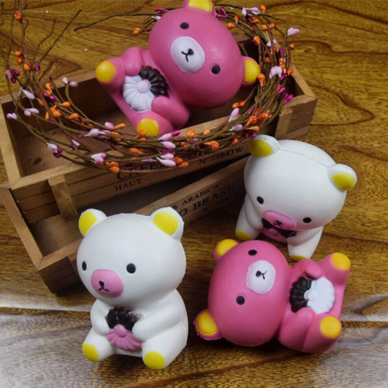10cm Jumbo Donuts Bear Squishy Slow Rising Kid Toys Soft Scented Cake Cell Phone Straps DIY Decor Kids Fun Joke Gift P15
