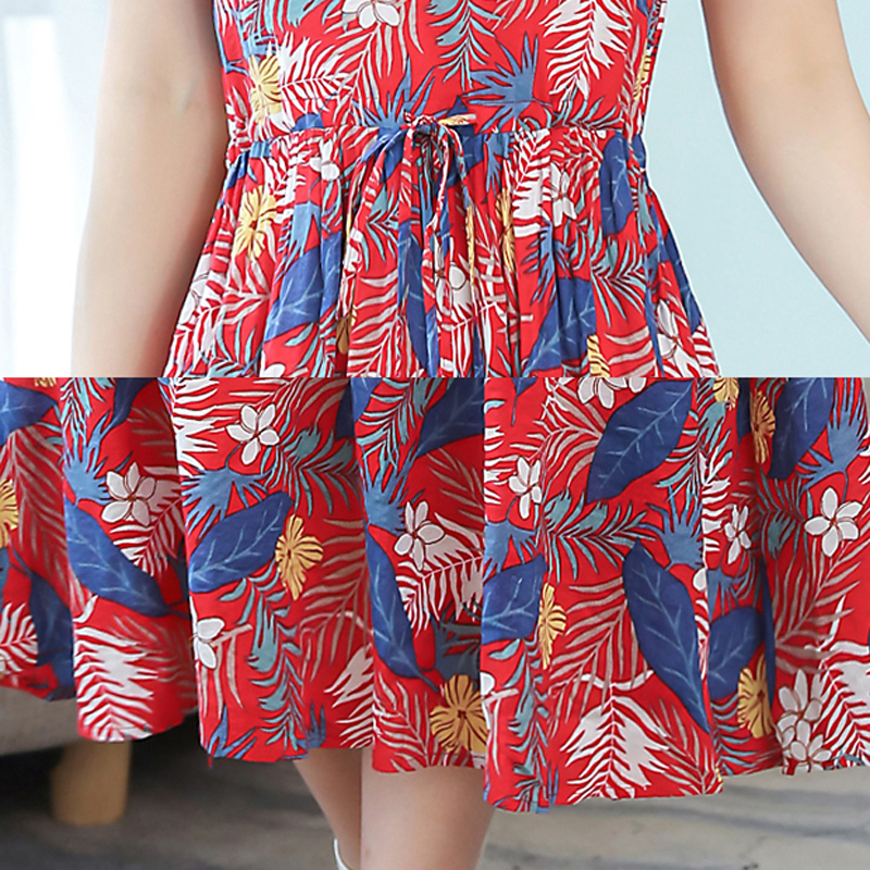 Women New Red Floral Printed Cotton and Linen Casual Dress Tunic Elegant Vintage 2019 Summer Plus Size Big Dresses Midi Clothing in Dresses from Women 39 s Clothing