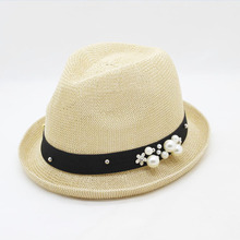 SUOGRY Shade of The Summer Travel Pearl belt Ladies Straw hat Sunscreen Beach Sun Jazz Hat Simple Wild цена и фото