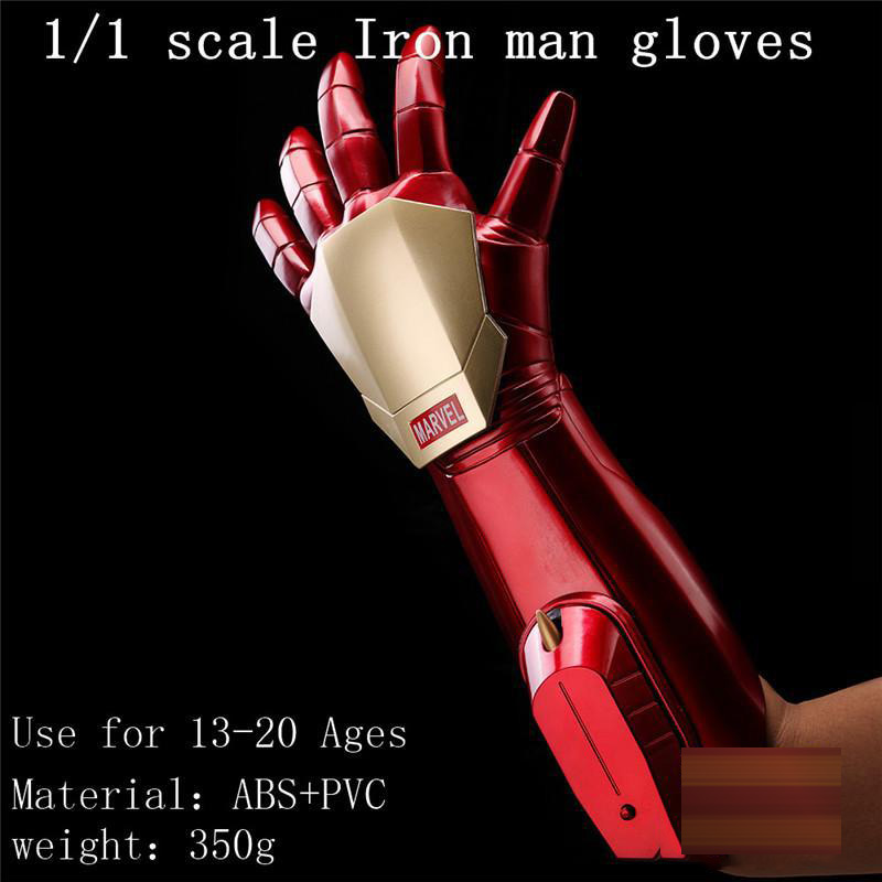 1:1 Scale The Avengers Marvel Iron Man Glove Launch Laser Light Or Bullet Hand New with retail box 1 1 the avengers iron man updated gauntlet glove led light left right hand new with retail box