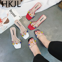 HKJL Fashion women 2019 south Korean version of the new style open toe fashion nail slippers with crystal A239