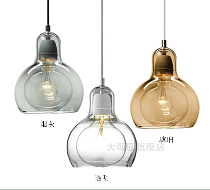 Nordic Brief Personalized Big Bulb Glass Pendant Light 11cm Amber Glass Lampshade Light Lighting Fixtures110-240V Bar Lamp Light