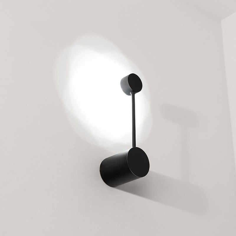 Светодиодный круглый точечный Соединительная труба настенный светильник стальная трубка прикроватная лампа Черная/Белая настенная лампа современный настенный ночник для детского декора