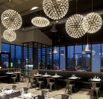 Nordic Creatieve Kleding Winkel Vuurwerk Restaurant Starry Lampen Woonkamer Hotel Villa Trappen Sparkle Bal Kroonluchter