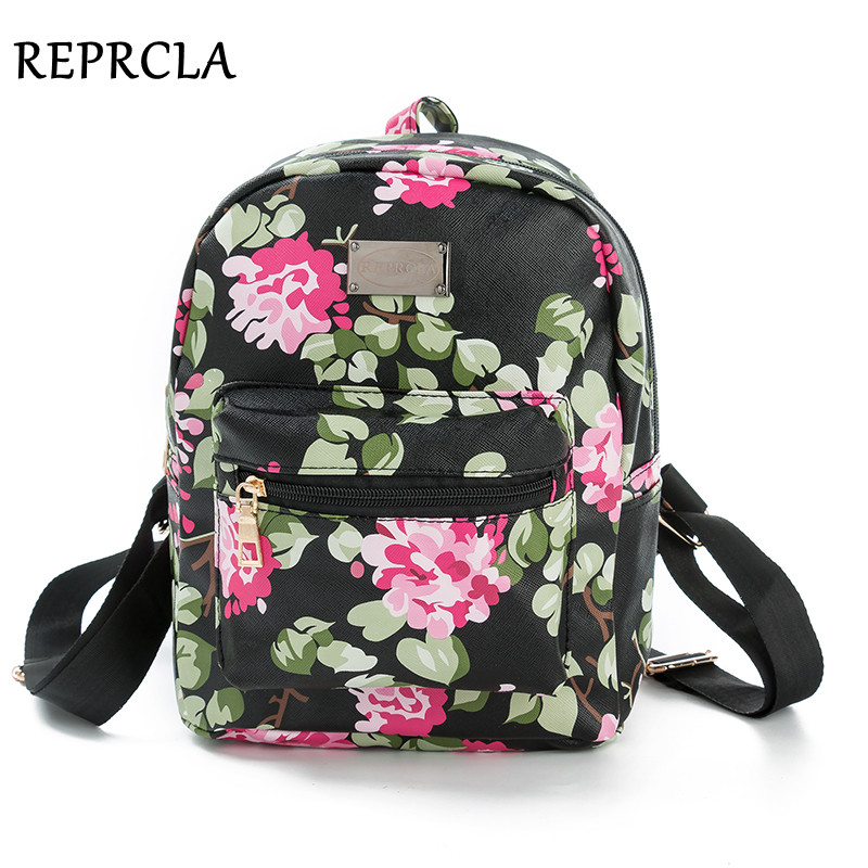 REPRCLA New Printing Backpack School Bags For Teenagers PU Leather Women Backpacks Girls Travel Bag High Quality N509 brand women bow backpacks pu leather backpack travel casual bags high quality girls school bag for teenagers