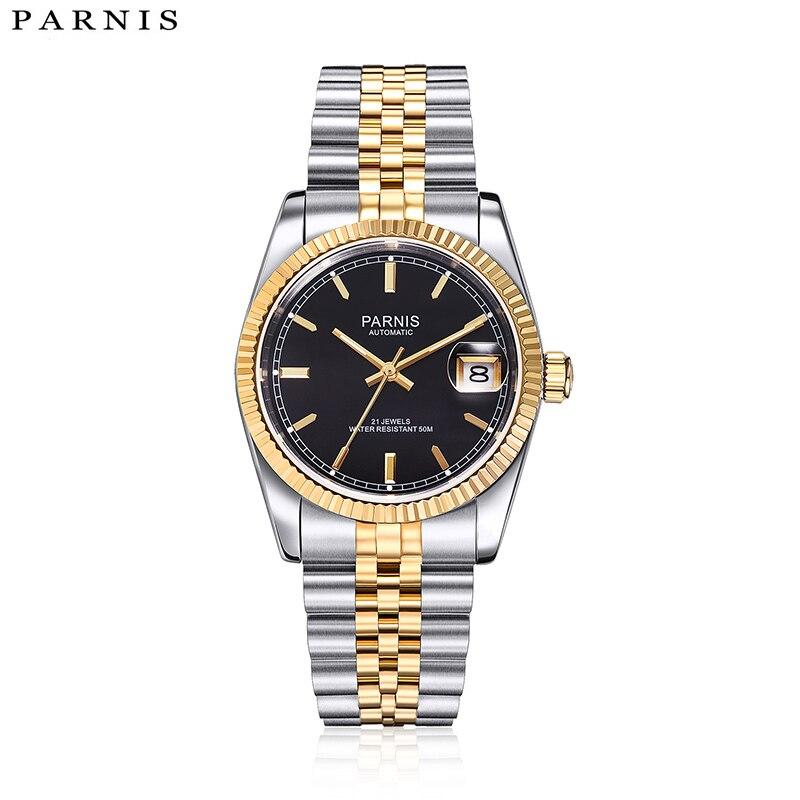 Parnis Топ Элитный бренд деловые часы Relogio Masculino Полный нержавеющая сталь браслет Royal Series золото автоматические для мужчин