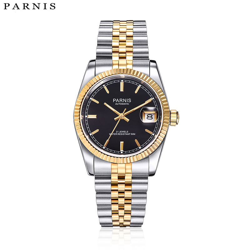 Parnis Top Luxury Brand Mechanical Watches Relogio Masculino Full Stainless Steel Bracelet Royal Series Gold Automatic Watch Men