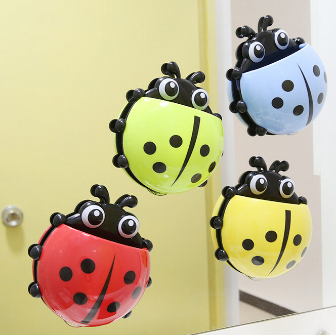 How cute Ladybug toothbrush holder material Meng creative powerful suction toothpaste combination s