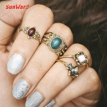 SunWard Bohemian Vintage Silver Stack Rings Finger 4PCS Ring Set Best Selling Jewelry 2017