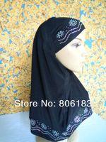 m1424 hot sale Hot Drill two piece with Inner cap muslim hijab elastic mix colors 12 pcs per dozen Islamic Lady Caps