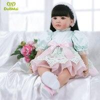 Lifelike 60cm Adora Reborn Toddler Girl Doll Braid Hair 24 Soft Silicone Vinyl Bebe Reborn Girls Boneca Doll Children gift