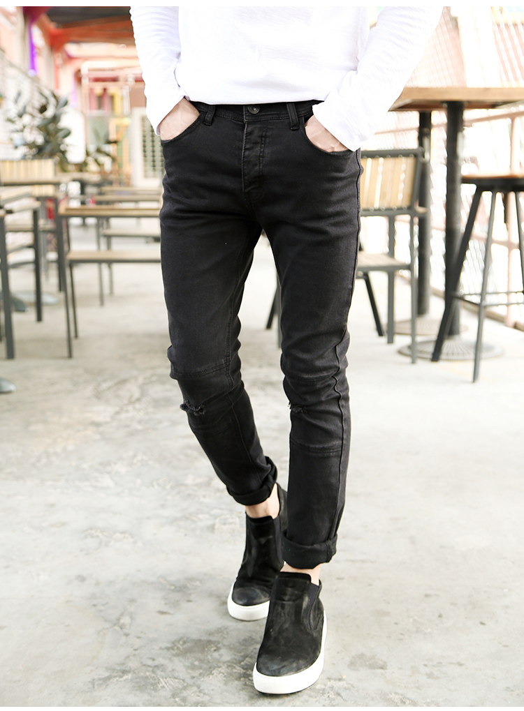 2016 Autumn New Black Destroyed Skinny-fit Biker Jeans men casual trousers stretch man denim pants slim-leg distressing jeans inc petite new black skinny leg regular fit pants 10p $59 5
