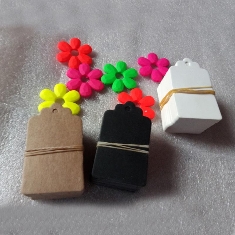 100pcs 5x3cn DIY Kraft Paper Tags Head Label Luggage Wedding/Party Note Blank price Hang tag Kraft Gift Wrapping Supplies