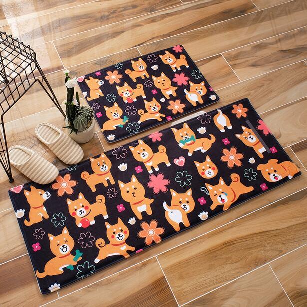 1pcs Cartoon Shiba Dogs carpet home kitchen doormat Restroom Coral Fleece Living Room Carpet Children Kids Bedroom Rug pet mat