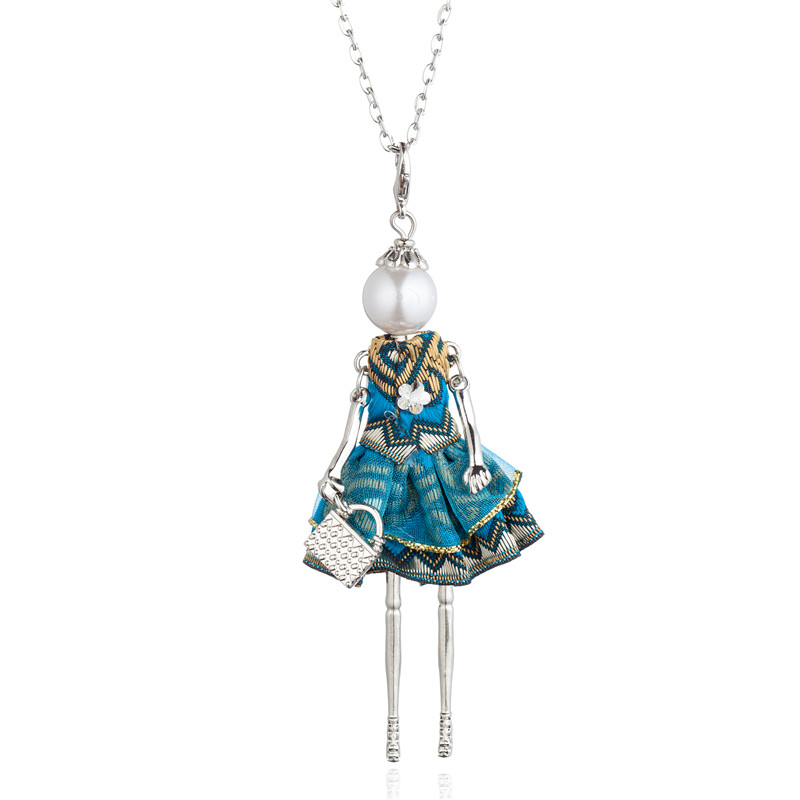 Luxury Embroidered Dress Doll Pendant Long Chain Necklace Handmade French Girl Maxi Statement Jewelry For Women Collier Femme in Pendant Necklaces from Jewelry Accessories