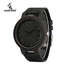 BOBO BIRD WC27 الرجال تصميم العلامة التجارية الفاخرة خشبية الخيزران الساعات مع ساعة كوارتز جلدية حقيقية في علبة هدية قبول OEM تخصيص