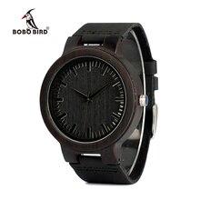 ボボ鳥 WC27 男性本物の革のデザインブランドの高級木製竹腕時計クォーツ時計ギフトボックス受け入れる oem カスタマイズ