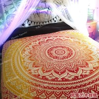 Hand dyeing Mandala Fluorescence wall hanging tapestry Cotton Home textile deco Tapiz Gobelin Tapisserie Arazzo medievale GT013