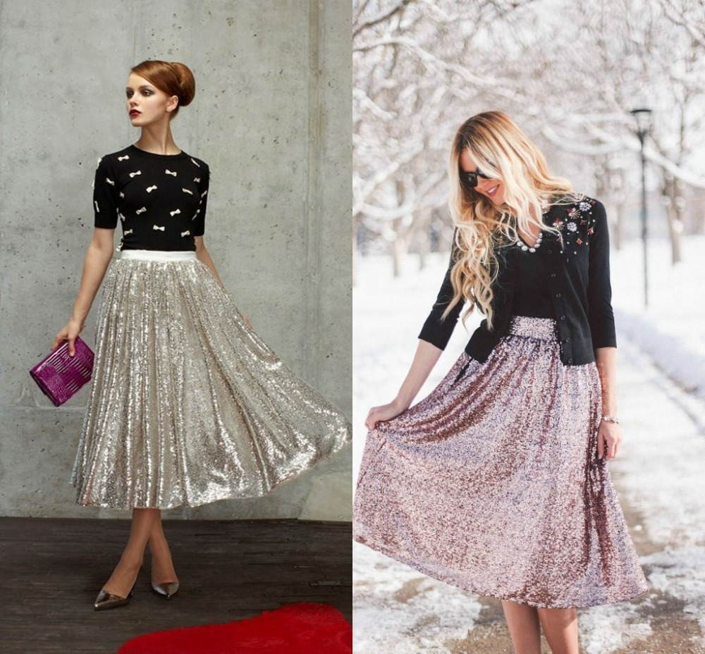 Sequined Lace Skirts Pleated Skirt Ankle Length Shiny Women Long ...