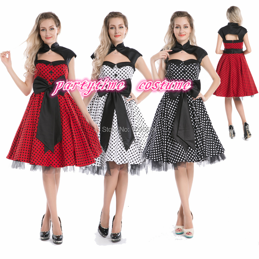 free shipping Vintage 1950s <font><b>1960s</b></font> big bow Swing Rockabilly Black White Polka Dot Evening Party <font><b>Dress</b></font> image