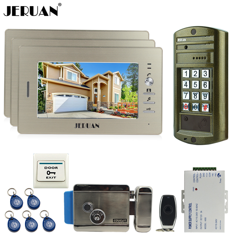 JERUAN 7 inch LCD Video Door phone Intercom System kit 3 Monitor +NEW Metal waterproof password keypad HD IR Mini Camera +E-lock jeruan 8 inch tft video door phone record intercom system new rfid waterproof touch key password keypad camera 8g sd card e lock
