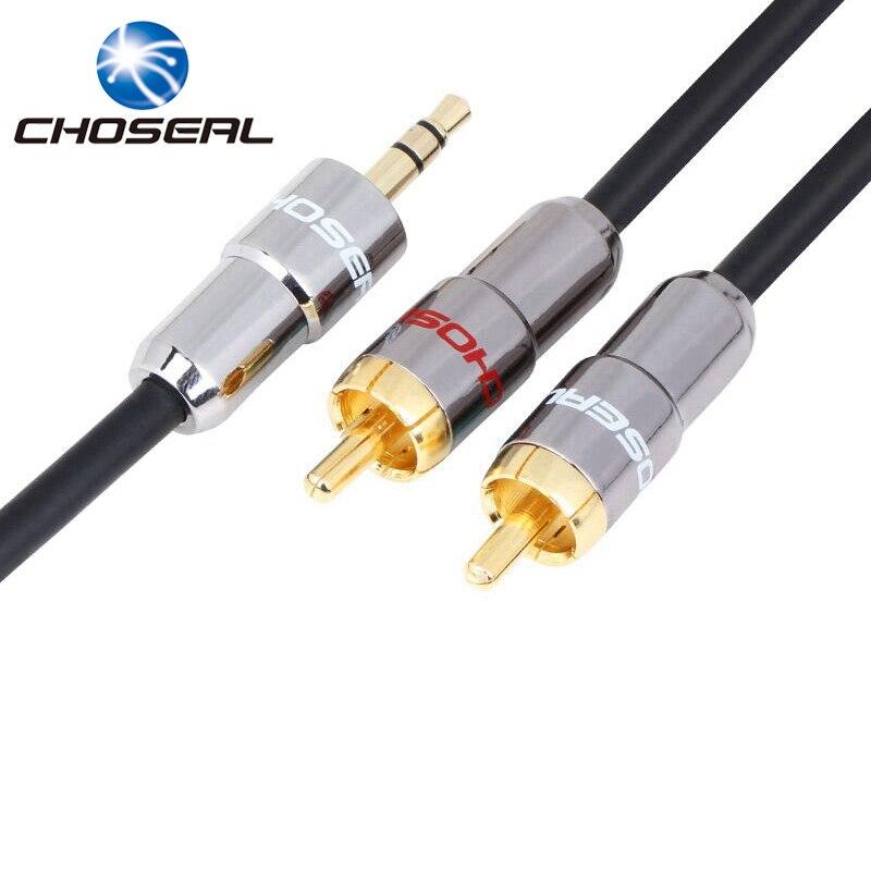 Choseal 3,5 MM Jack Lautsprecher Kabel 3,5mm Zu RCA STECKER Audio Kabel Aux Kabel Schwarz 1 Mt-20 Mt Für Auto Handy PC MP3 CD Player
