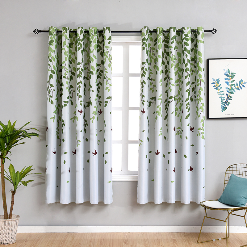 US $11.81 31% OFF|Rustic Short Curtains for Kitchen Pastoral Plant Bedroom  Decorations Window Curtain Living Room Green Drapes-in Curtains from Home &  ...