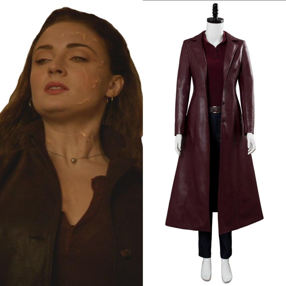 Marvel X-Men Dark Phoenix Jean Grey Costume Zip Up Jacket Sweatshirt Coat