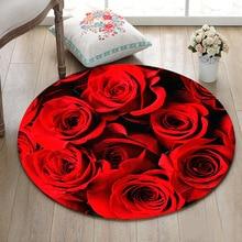 Крытая круглая Подгонянная подушка для гостиной, спальни, напольные коврики для ванной комнаты, Нескользящие ковры, домашний дверной коврик, реалистичные красные розы