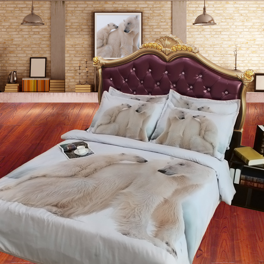 JF 096 Digital Print Lovely Polar Bear Print Bedding Sets Twin Size Single  Bed Sheets Queen Super King Duvet Cover 2m Bedclothes In Bedding Sets From  Home ...