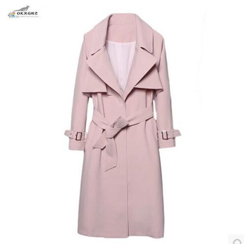 OKXGNZ Spring Windbreaker 2017 New Long-term Korean Fashion Slim Coat Female Thin Section Large size Spring Autumn Coat QQ672