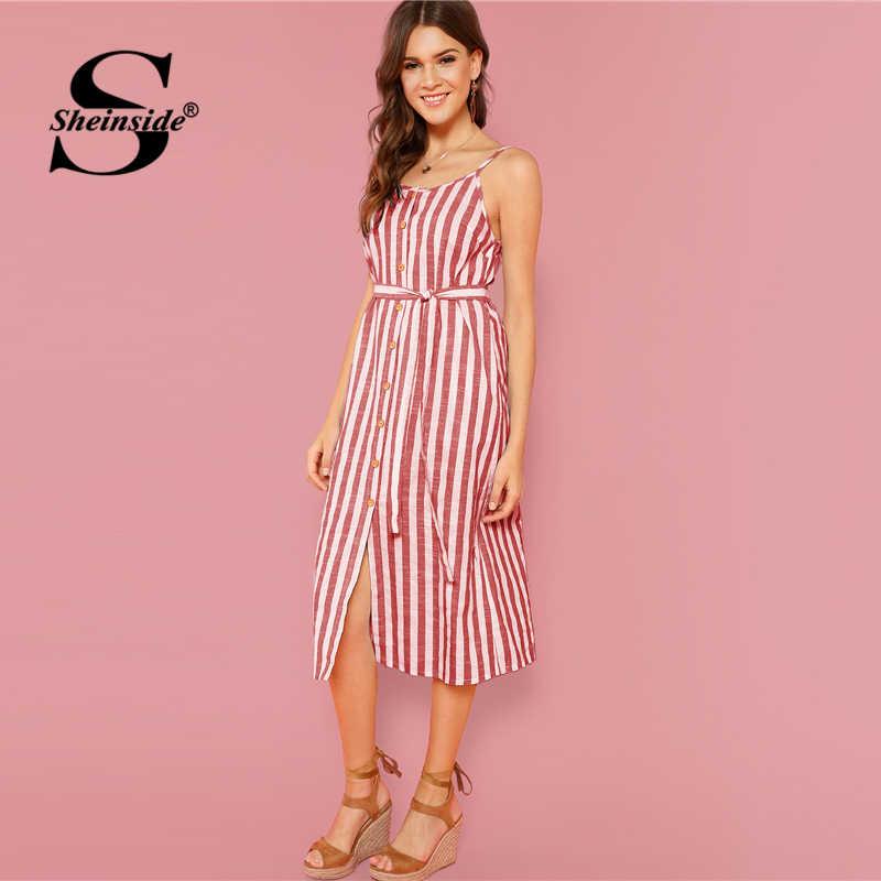 Sheinside кнопка спереди вертикальная полоса Cami платье Спагетти ремень без рукавов по колено платья женские летние повседневные платья