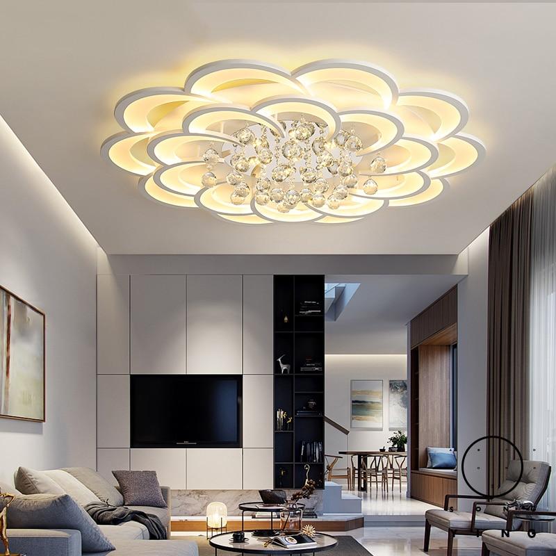 Crystal Modern Led Chandelier For Living Room Bedroom Study Room Home Deco Acrylic 110V 220V Ceiling Chandelier Fixtures