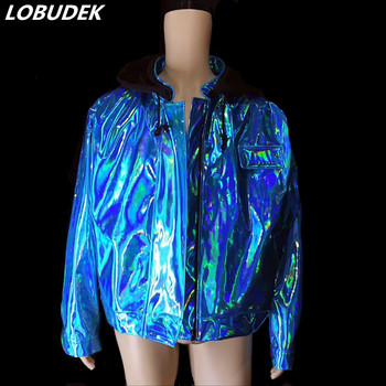 Flashing Blue Jacket Loose Baseball Coat Tide Male Singer HIP HOP Rock Costume Nightclub Performance Stage Wear Dance Outfits
