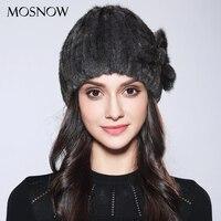 MOSNOW Women Cap Winter Natural Mink Fur Flower Fashion 2017 New Wool Lining Knitted Beanies Winter
